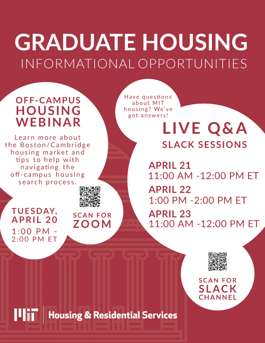 Flyer on upcoming Grad Housing information